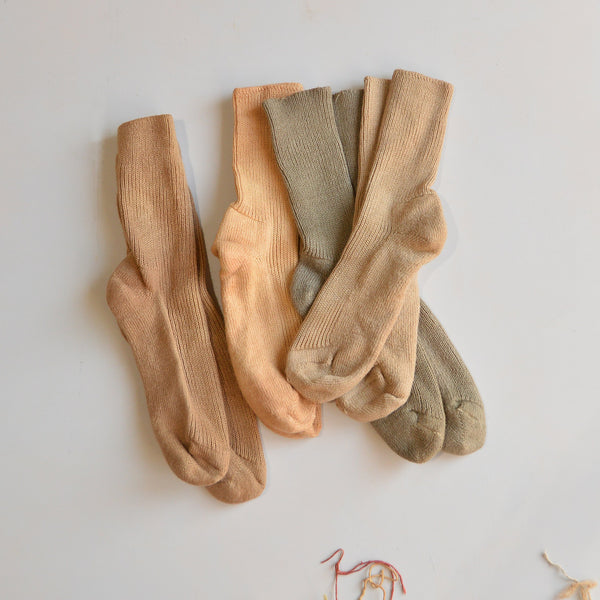 Plant Dyed Organic Wool/Silk Socks - Earth Series (34-44)