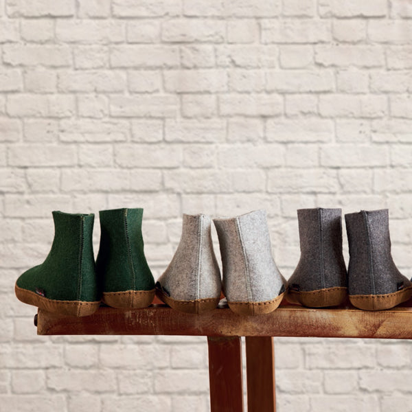 Wool Felt Boots with Leather Sole (Adults)