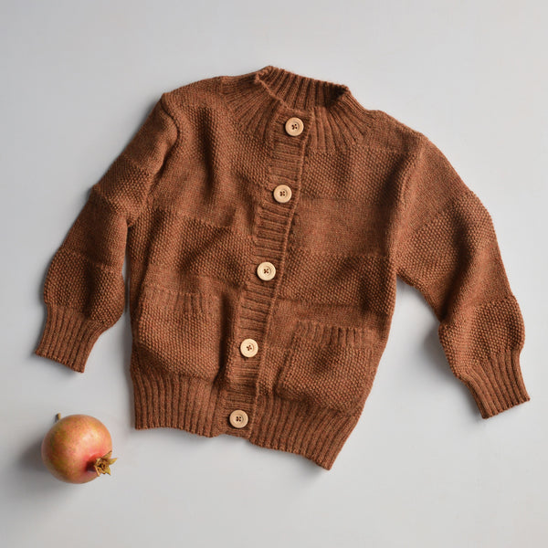 Everyday Cardigan in alpaca/merino - Gingerbread (18m-8y)