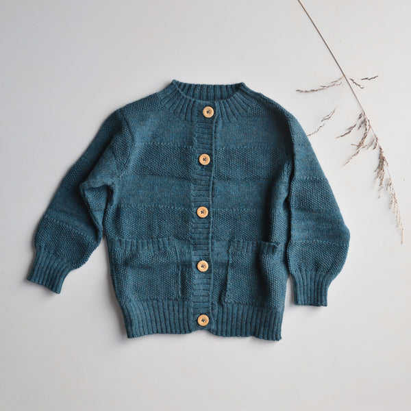 Everyday Cardigan in alpaca/merino - Ocean (18m-12y+)
