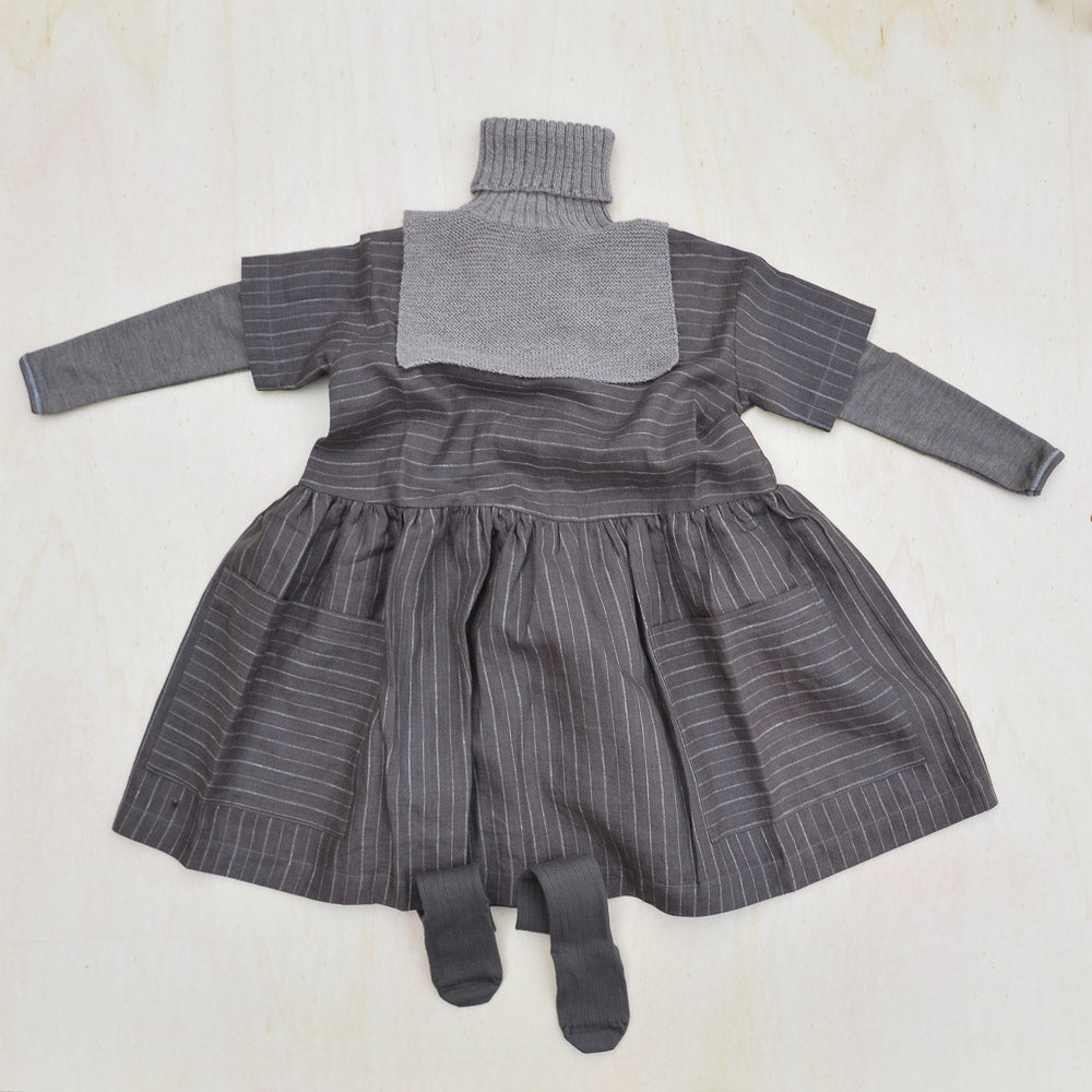 Pocket Dress in 100% Linen - Brown Pinstripe (6m-12y)