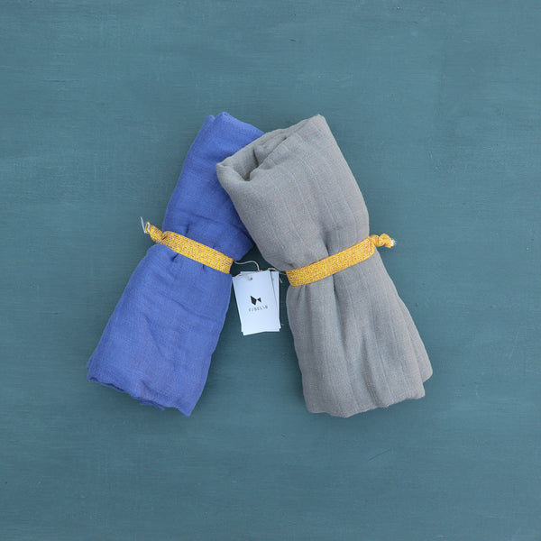 Organic Muslin Swaddle Blanket/Scarf - Grey *Last Ones