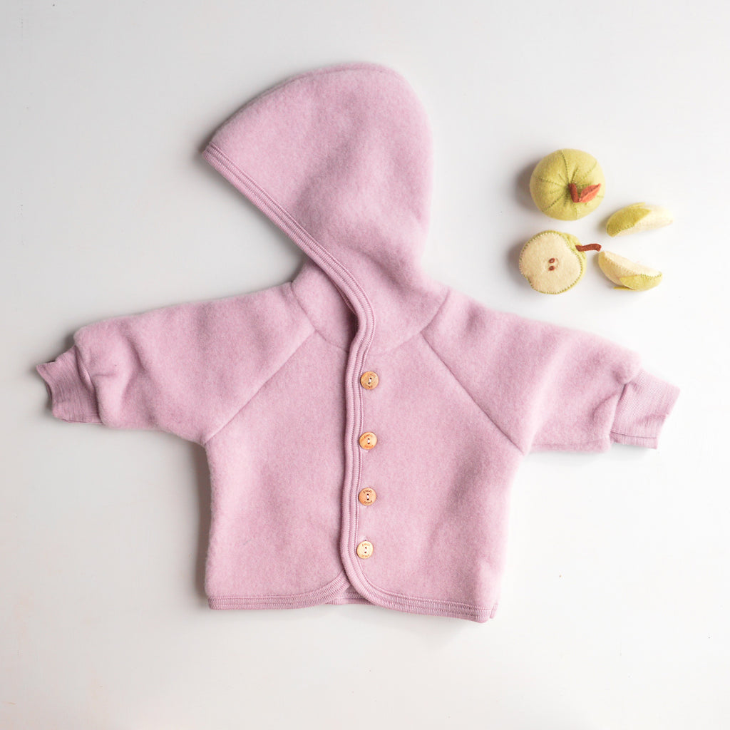 Hooded Jacket in Organic Wool Fleece - Rosewood (0-6m) *Last ones