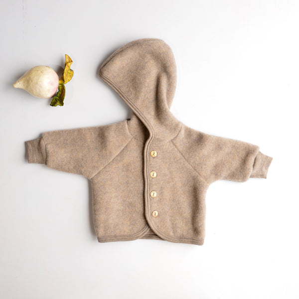 Hooded Jacket in Organic Wool Fleece (0-24m) *Returning Soon*