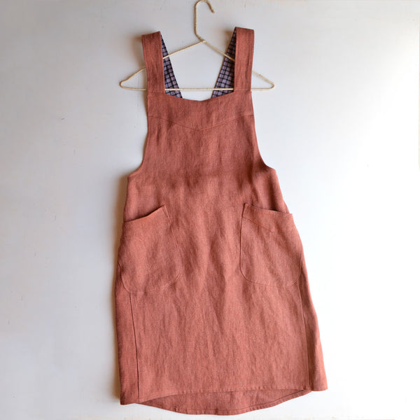 Hard Yakka Hemp Apron Pinafore - Henna (S-XL)
