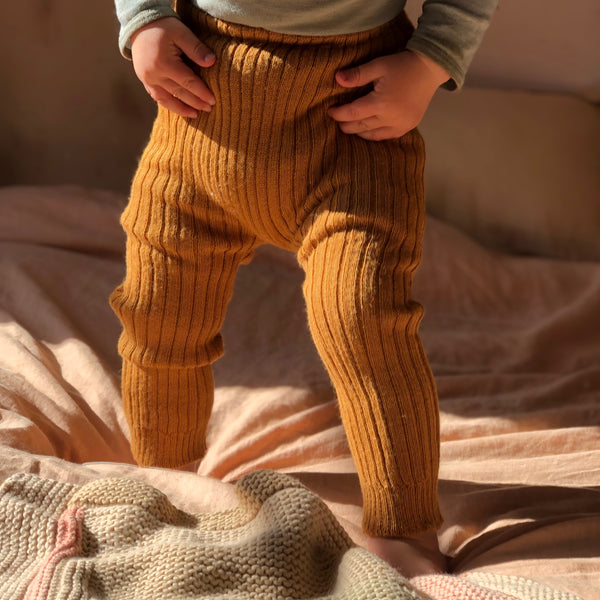 Alpaca Rib Knit Pants - Red & Mustard (9-18m) *Last ones