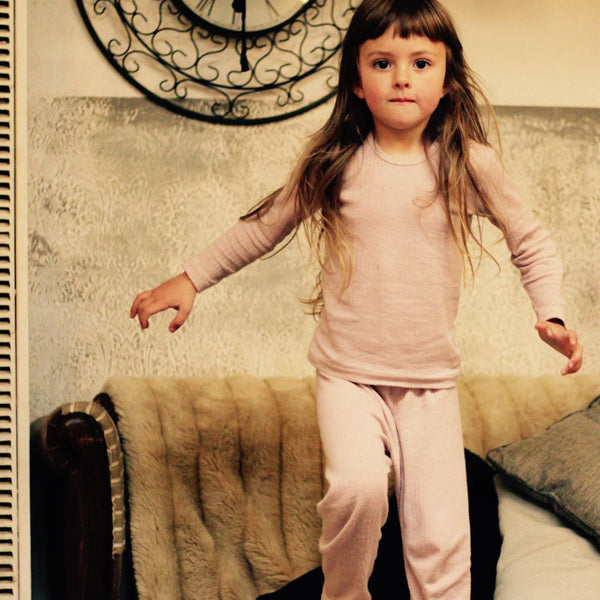 Children's PJs Set in Cotton/Wool/Silk (2-10yrs) in Dusky Pink