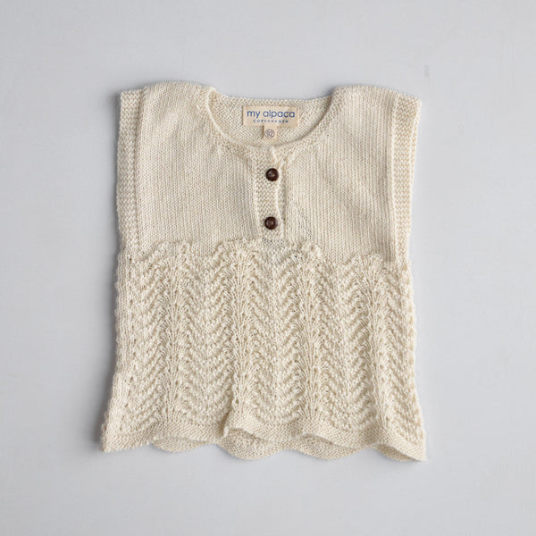 June Vest in Baby Alpaca - Natural (6m-3y)