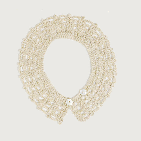 Crochet Alpaca Lace Collar - Cream
