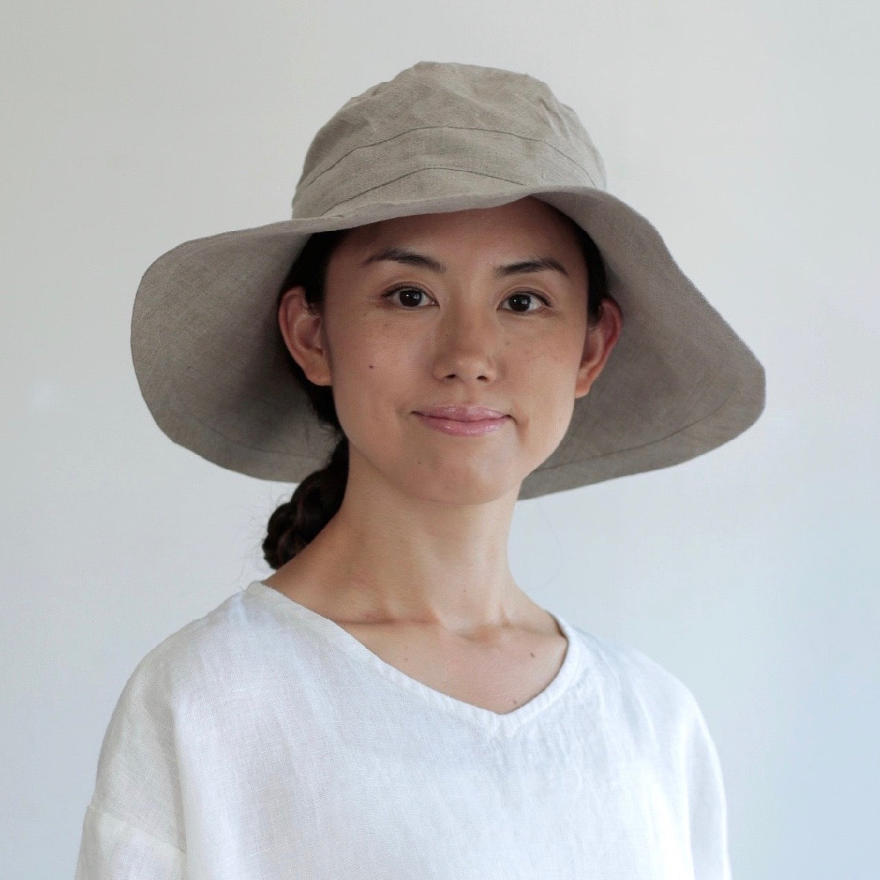 Linen Sun Hat - Natural   Midnight (adults) - Woollykins e21be6ac067