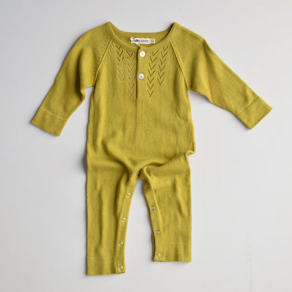 Lace Front Overall in Alpaca/Cotton - Moss (0-3y)