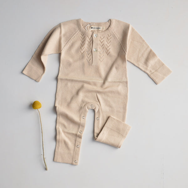Lace Front Overall in Alpaca/Cotton - Shell (0-3y)