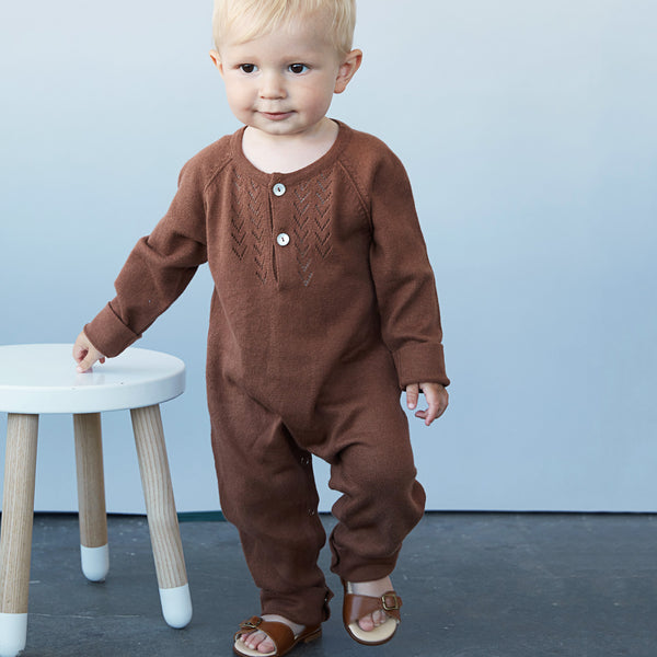 Lace Front Overall in Alpaca/Cotton - Deer (0-18m)