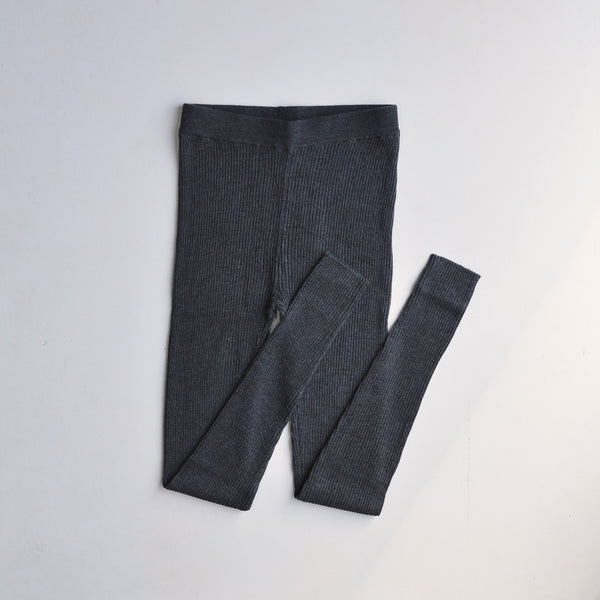 Melange Rib Leggings - Charcoal Melange