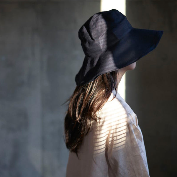 Linen Sun Hat - Natural & Nuit (adults)