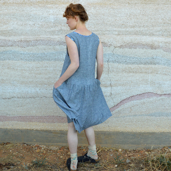 Lisa Dress in Chambray Hemp/Tencel