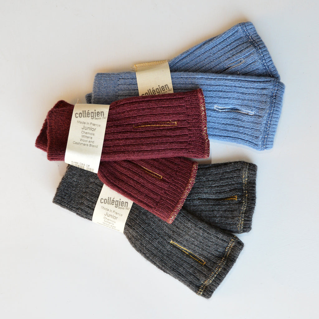 Fingerless Mittens - Wool/Cashmere Blend -Zinc Blue (Child)