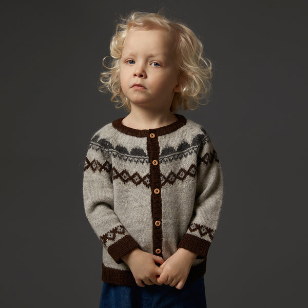 FairIsle Mountain Cardigan in 100% alpaca - Grey (18m-5y)