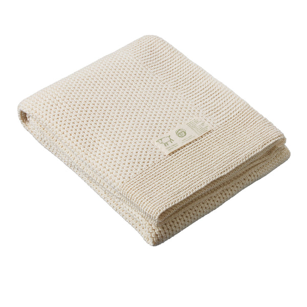 100% Merino Knitted Baby Cot Blanket - Natural