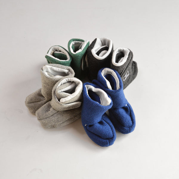 Boiled Wool Booties with Organic Cotton Jersey Lining (0-24m)