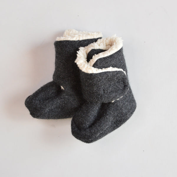 Boiled Wool Booties with Sherpa Organic Cotton Lining (0-24m)