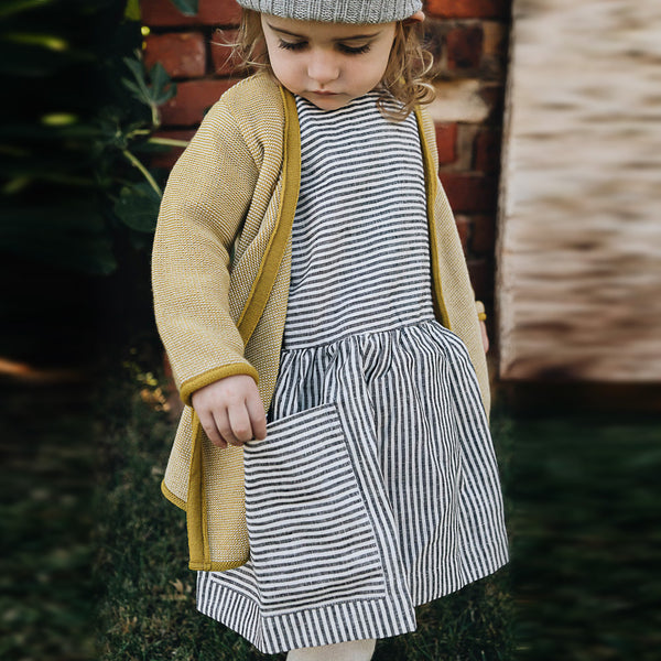 Pocket Dress in 100% Linen (18m-12y) - Graphite Pinstripe