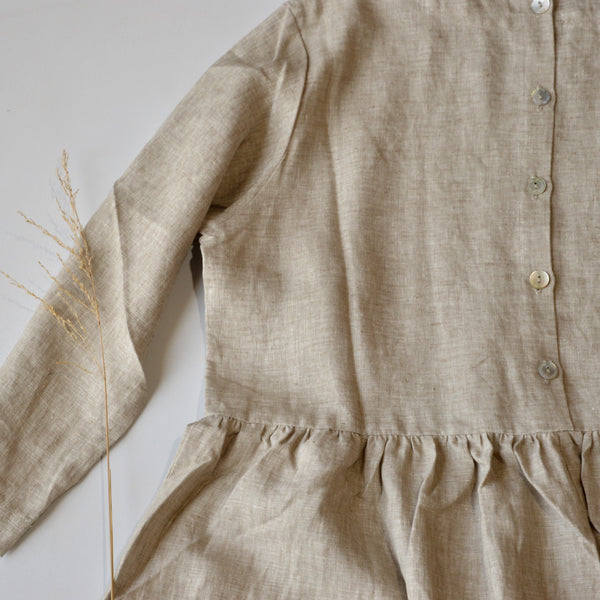 Women's Pocket Dress in 100% Linen - Natural