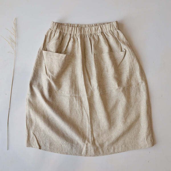 Women's Pocket Skirt in 100% Linen - Natural