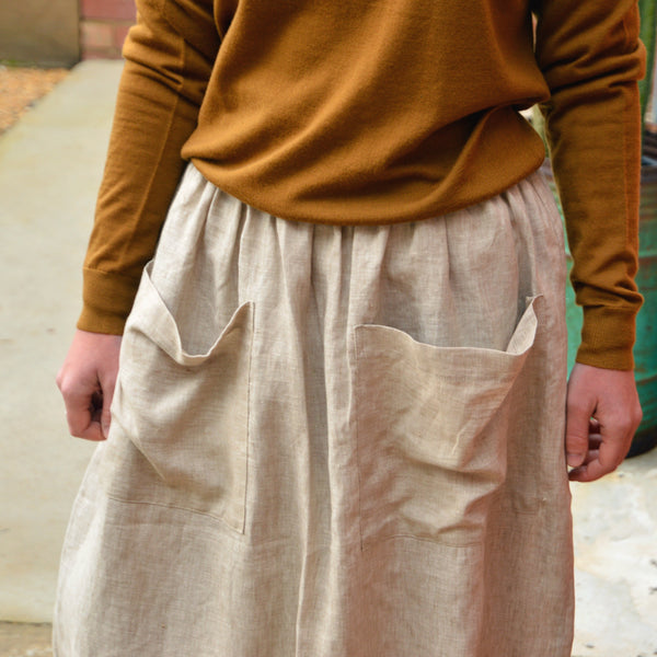 Women's Pocket Skirt in 100% Linen - Natural Beige