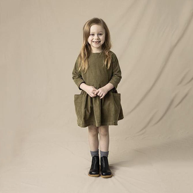 Pocket Dress in Cotton Corduroy - Olive (18m-8y)