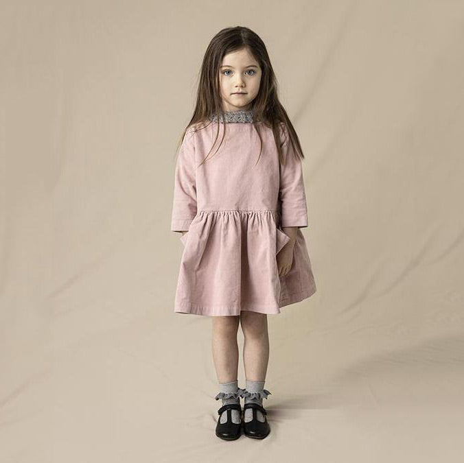 Pocket Dress in Cotton Corduroy - Dusty Pink (18m-8y)