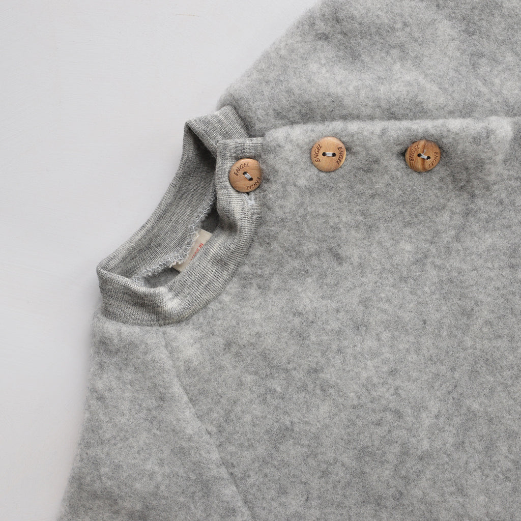 Baby Wool Fleece Raglan Jumper - Grey (0-24m)