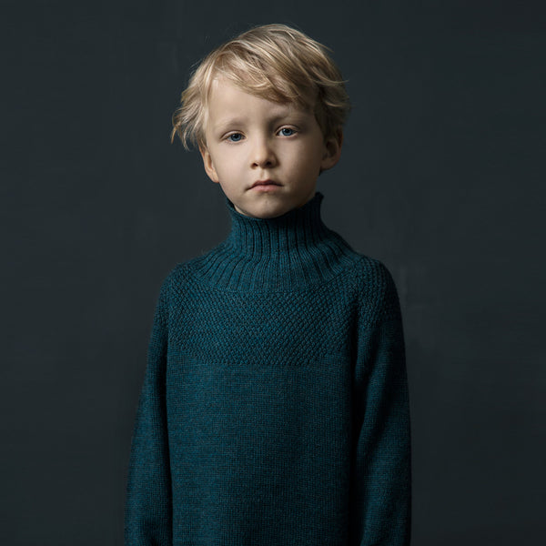 Sailor Sweater in 100% alpaca - Ocean (18m-12y)