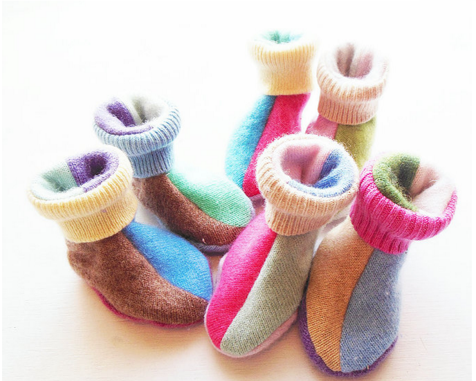 Cashmere Booties 100% Recycled Cashmere (0-9m)