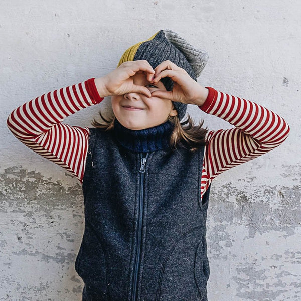 Child's Longsleeve Top 100% Merino in Blue or Red Stripe (1-10yrs)