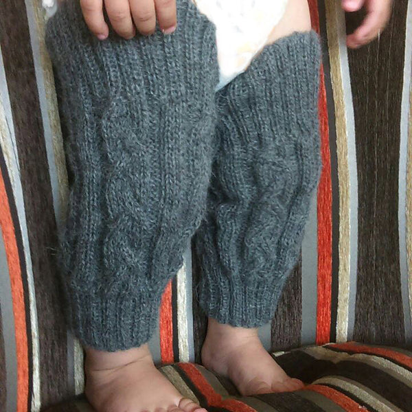 Baby Legwarmers Cable Knit in Organic Baby Alpaca
