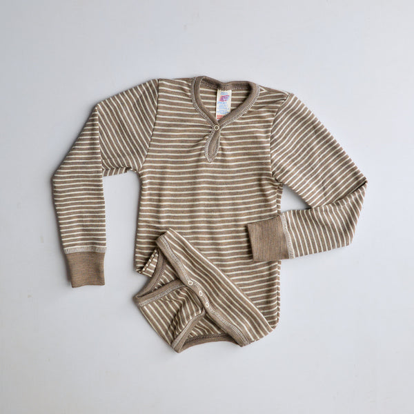 Baby Bodysuit Longsleeve Wool/Silk - Walnut Natural Stripe (3m-3yrs)