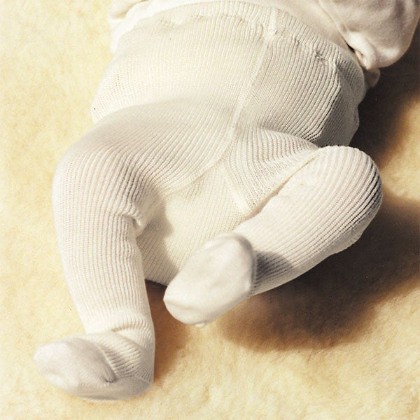 100% Organic Wool Tights with Feet in Natural (3m-5yrs)