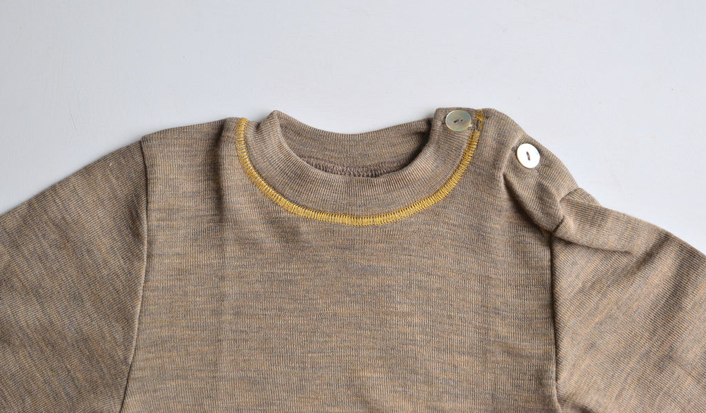 Walnut Wool/Silk Top with shoulder buttons (3m-5y)