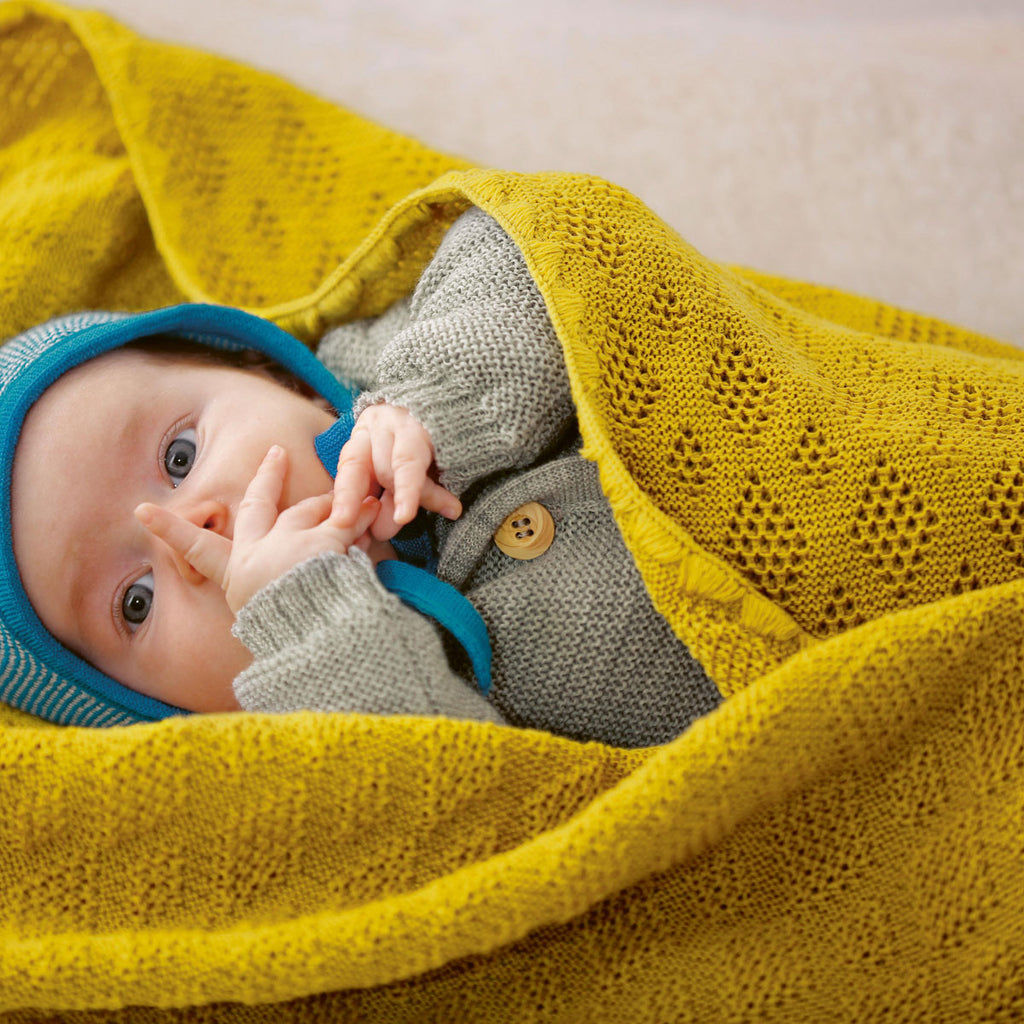 Knitted Baby Blanket in Organic Merino Wool (Colours)