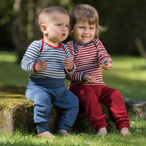 Baby Pants 100% Merino in Red or Blue Melange (0-2yrs)