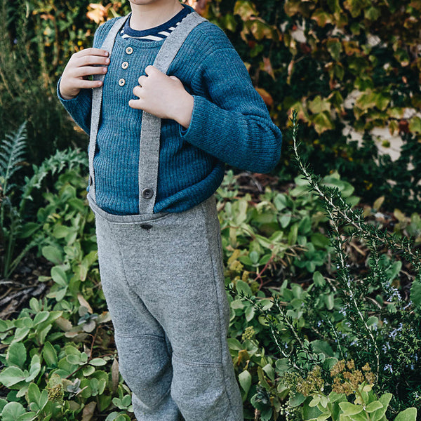 Boiled Wool Dungarees 1-6y (grey 12-24m left)