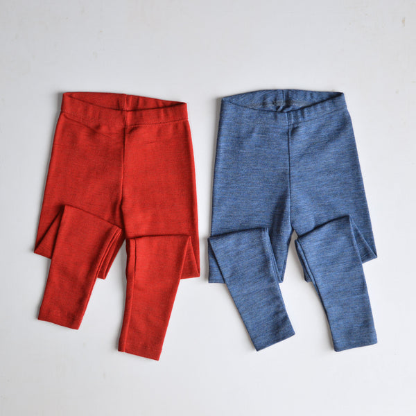 Child's Leggings 100% Merino in Blue or Red Melange (1-12yrs)