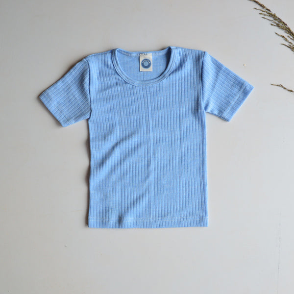 Child's Shortsleeve Top in Cotton/Wool/Silk (1-12 years)
