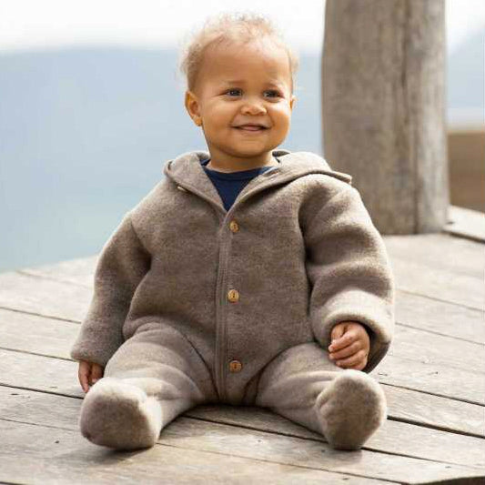 Hooded Overall in Organic Wool Fleece in Walnut Melange (0-24m)