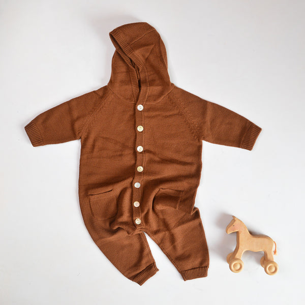 Baby Knitted Overall with Hood - Umber (3m-2y)