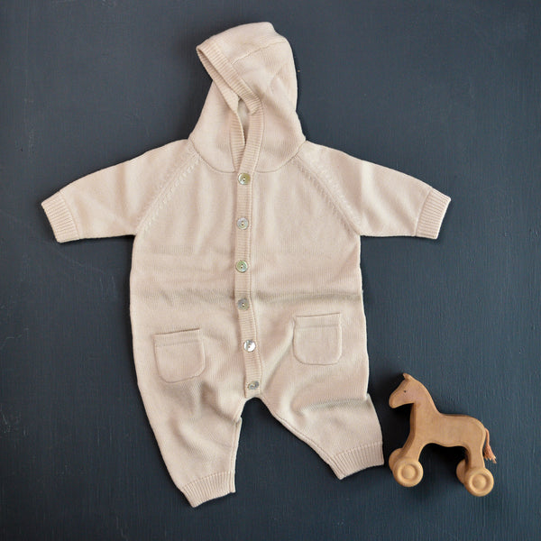 Baby Knitted Overall with Hood - Natural (Newborn-6m)