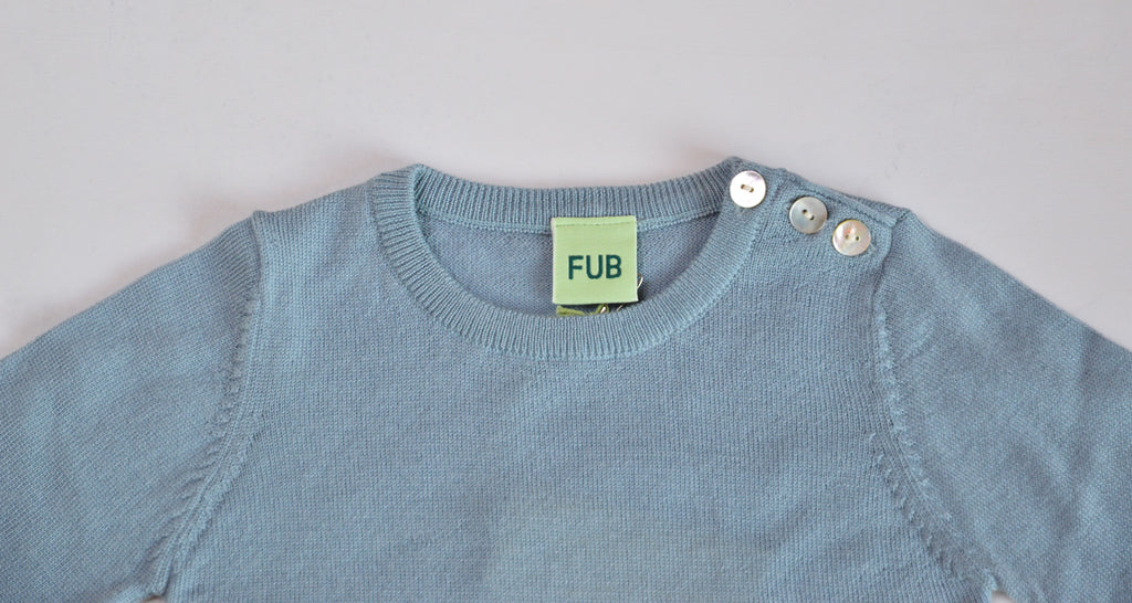 FUB Baby Body Longsleeve 100% Merino - Dusty Blue (3m-3y)