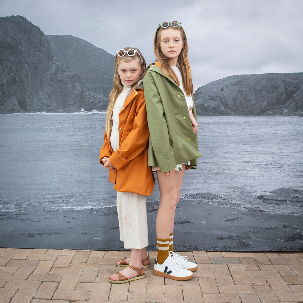 recycled rain coat for kids by fairechild available from Woollykins Australia New Zealand