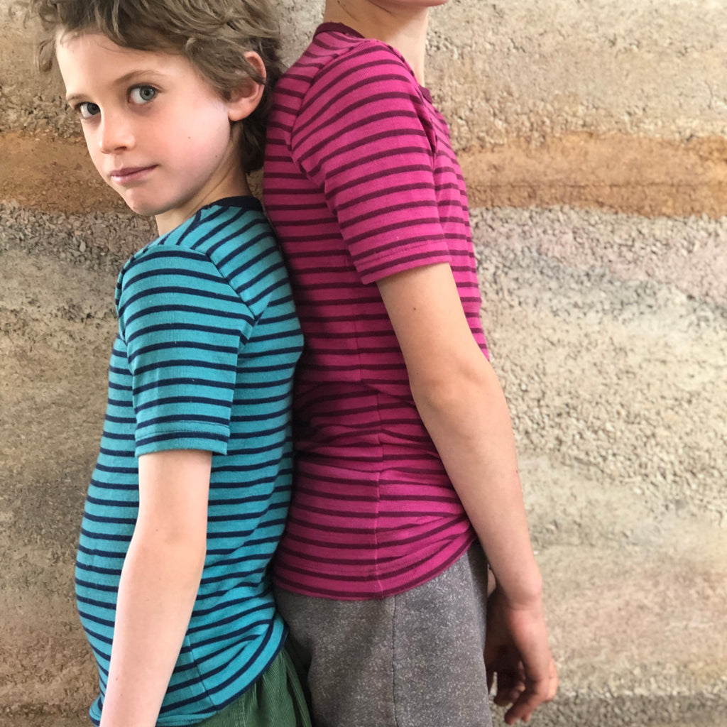 Engel, Child's Merino/Silk T-Shirt Stripes - Wollykins, Australia